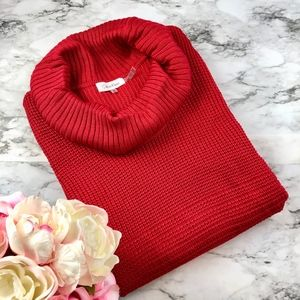 {NEW} Calvin Klein Bold Red Cowl Neck Sweater